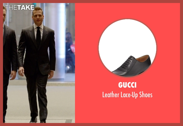 Gucci black shoes from Suits seen with Harvey Specter (Gabriel Macht)
