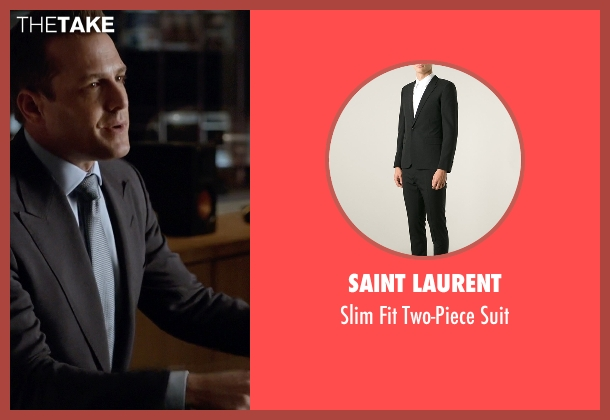 Saint Laurent black suit from Suits seen with Harvey Specter (Gabriel Macht)