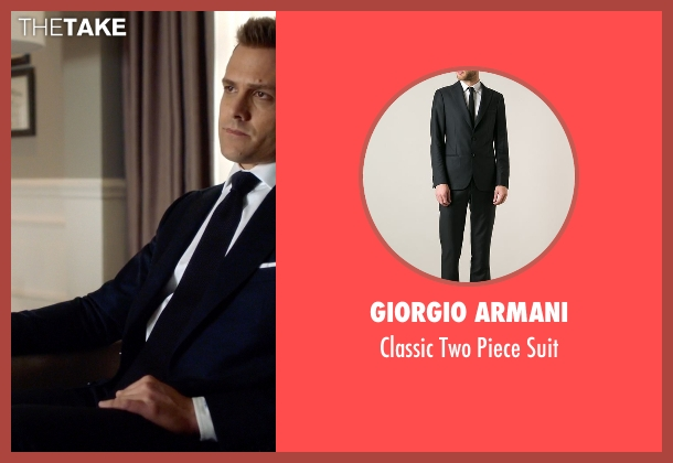 Giorgio Armani black suit from Suits seen with Harvey Specter (Gabriel Macht)