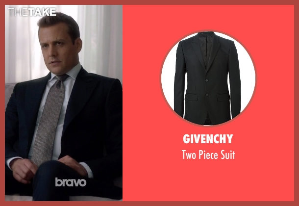Givenchy black suit from Suits seen with Harvey Specter (Gabriel Macht)