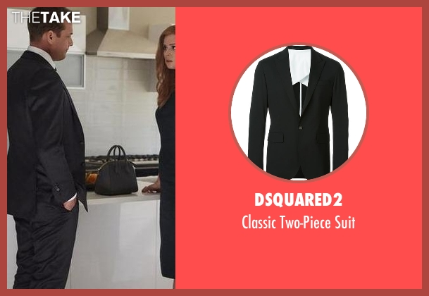 Dsquared2 black suit from Suits seen with Harvey Specter (Gabriel Macht)