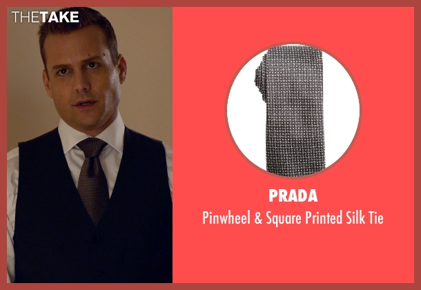 Prada black tie from Suits seen with Harvey Specter (Gabriel Macht)