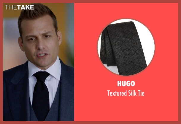 Hugo black tie from Suits seen with Harvey Specter (Gabriel Macht)