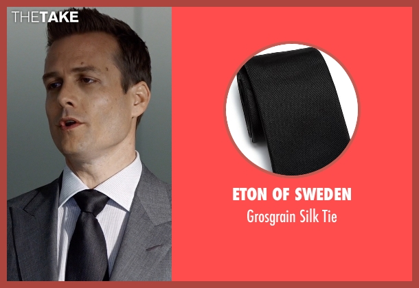 Eton of Sweden black tie from Suits seen with Harvey Specter (Gabriel Macht)