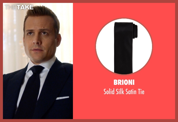 Brioni black tie from Suits seen with Harvey Specter (Gabriel Macht)