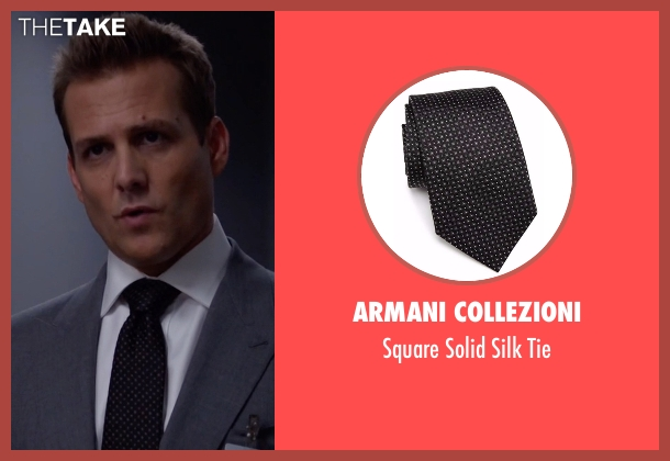 Armani Collezioni black tie from Suits seen with Harvey Specter (Gabriel Macht)