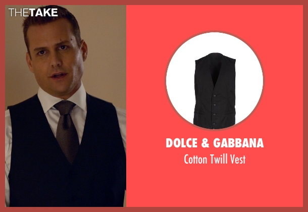 Dolce & Gabbana black vest from Suits seen with Harvey Specter (Gabriel Macht)