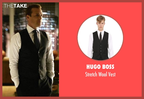 Hugo Boss black vest from Suits seen with Harvey Specter (Gabriel Macht)