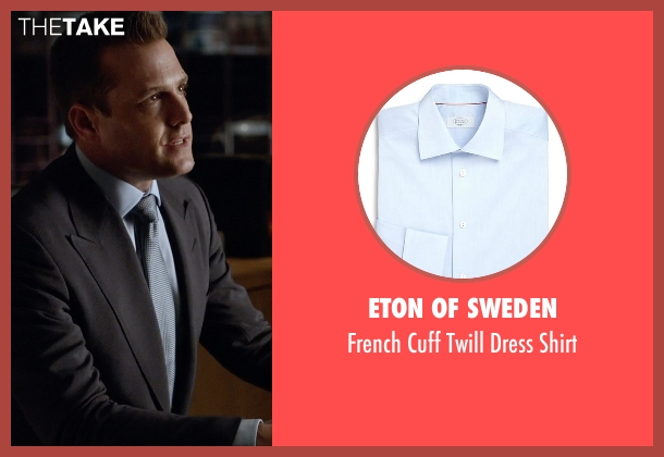 Eton of Sweden blue shirt from Suits seen with Harvey Specter (Gabriel Macht)