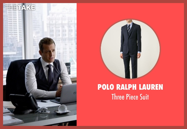 Polo Ralph Lauren blue suit from Suits seen with Harvey Specter (Gabriel Macht)