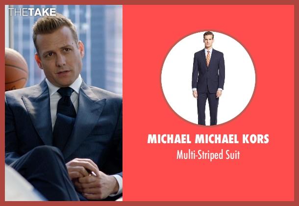 Michael Michael Kors blue suit from Suits seen with Harvey Specter (Gabriel Macht)