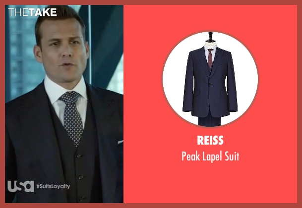 Reiss blue suit from Suits seen with Harvey Specter (Gabriel Macht)