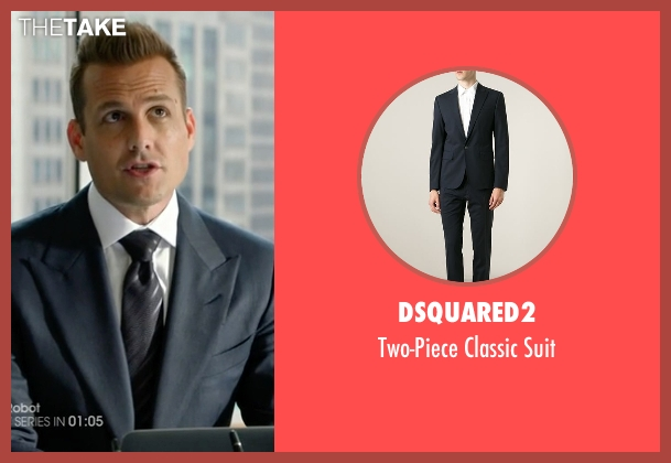 Dsquared2 blue suit from Suits seen with Harvey Specter (Gabriel Macht)
