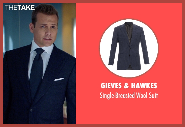 Gieves & Hawkes blue suit from Suits seen with Harvey Specter (Gabriel Macht)