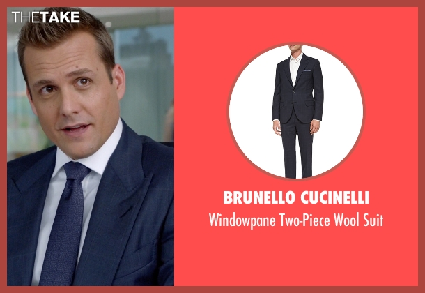 Brunello Cucinelli blue suit from Suits seen with Harvey Specter (Gabriel Macht)