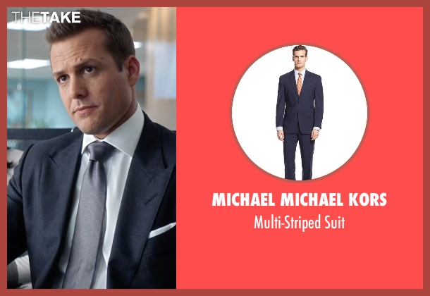 Michael Michael Kors blue suit from Suits seen with Harvey Specter (Gabriel Macht)