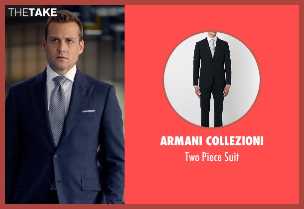 Armani Collezioni blue suit from Suits seen with Harvey Specter (Gabriel Macht)