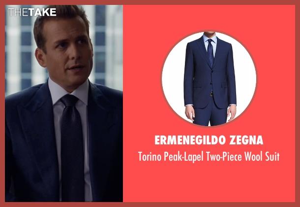 Ermenegildo Zegna blue suit from Suits seen with Harvey Specter (Gabriel Macht)