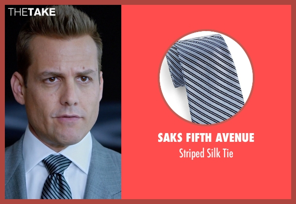 Saks Fifth Avenue blue tie from Suits seen with Harvey Specter (Gabriel Macht)