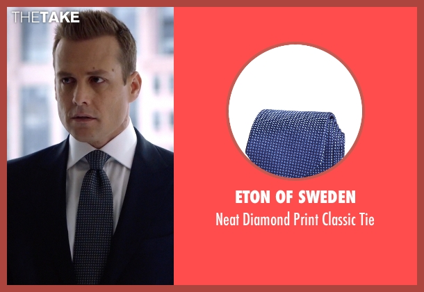 Eton of Sweden blue tie from Suits seen with Harvey Specter (Gabriel Macht)