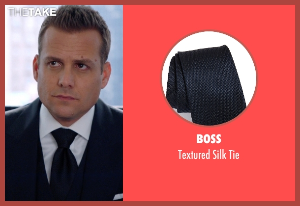 Boss blue tie from Suits seen with Harvey Specter (Gabriel Macht)