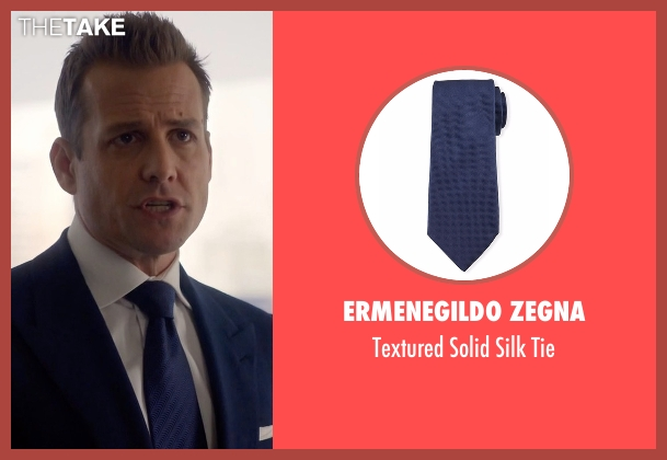 Ermenegildo Zegna blue tie from Suits seen with Harvey Specter (Gabriel Macht)