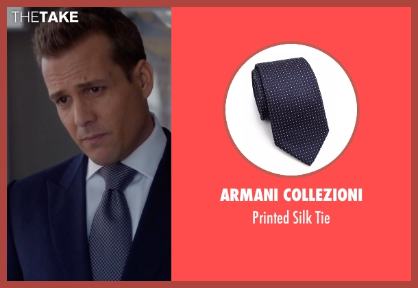 Armani Collezioni blue tie from Suits seen with Harvey Specter (Gabriel Macht)