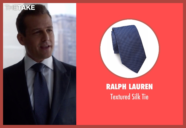 Ralph Lauren blue tie from Suits seen with Harvey Specter (Gabriel Macht)