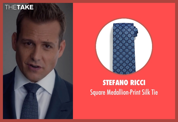 Stefano Ricci blue tie from Suits seen with Harvey Specter (Gabriel Macht)