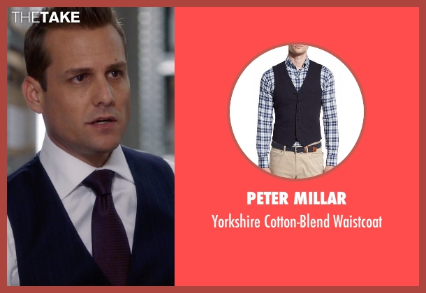 Peter Millar blue waistcoat from Suits seen with Harvey Specter (Gabriel Macht)