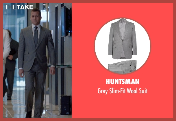 Huntsman gray suit from Suits seen with Harvey Specter (Gabriel Macht)