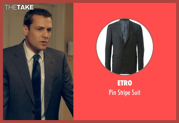 Etro gray suit from Suits seen with Harvey Specter (Gabriel Macht)