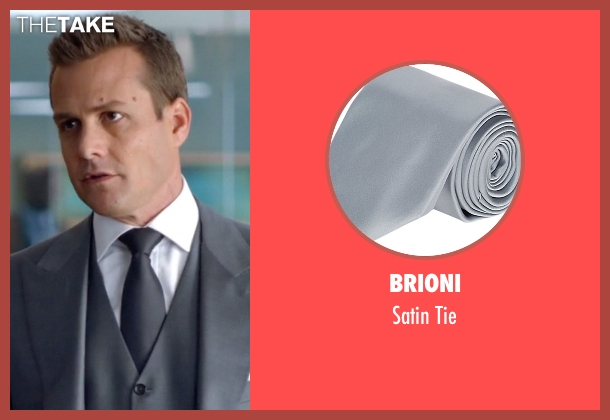 Brioni gray tie from Suits seen with Harvey Specter (Gabriel Macht)