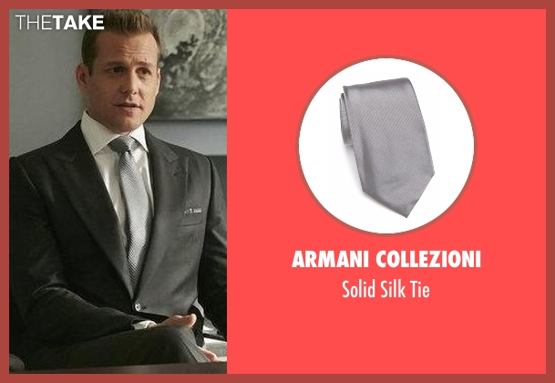 Armani Collezioni gray tie from Suits seen with Harvey Specter (Gabriel Macht)