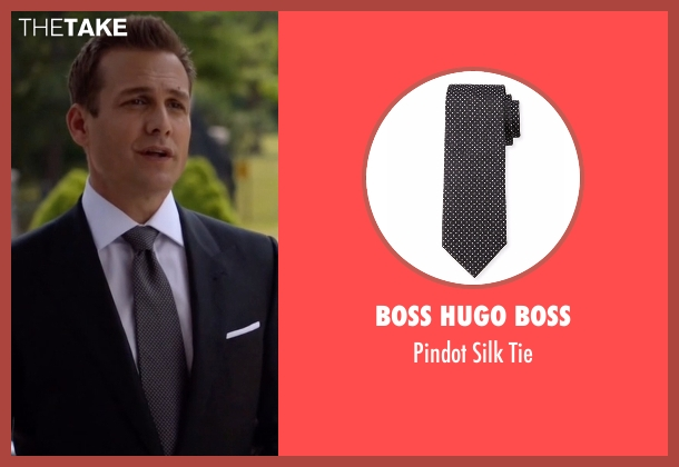 Boss Hugo Boss gray tie from Suits seen with Harvey Specter (Gabriel Macht)