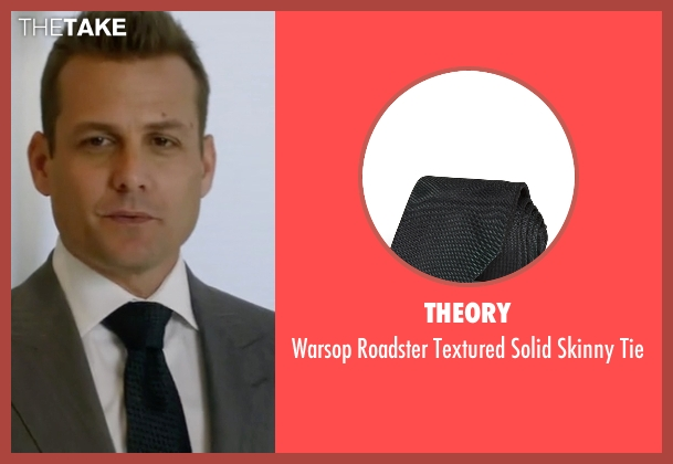 Theory green tie from Suits seen with Harvey Specter (Gabriel Macht)