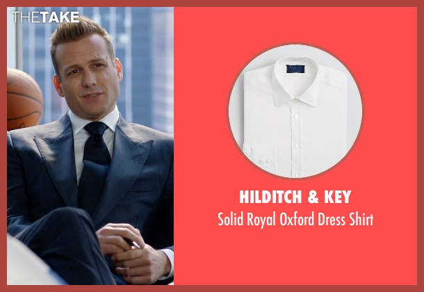 Hilditch & Key white shirt from Suits seen with Harvey Specter (Gabriel Macht)