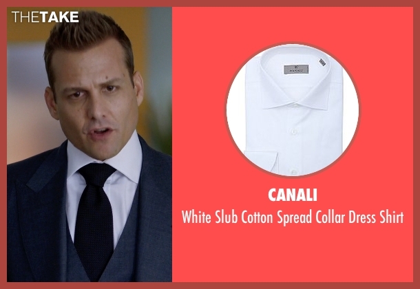Canali white shirt from Suits seen with Harvey Specter (Gabriel Macht)