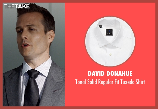 David Donahue white shirt from Suits seen with Harvey Specter (Gabriel Macht)