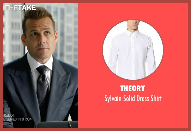 Theory white shirt from Suits seen with Harvey Specter (Gabriel Macht)