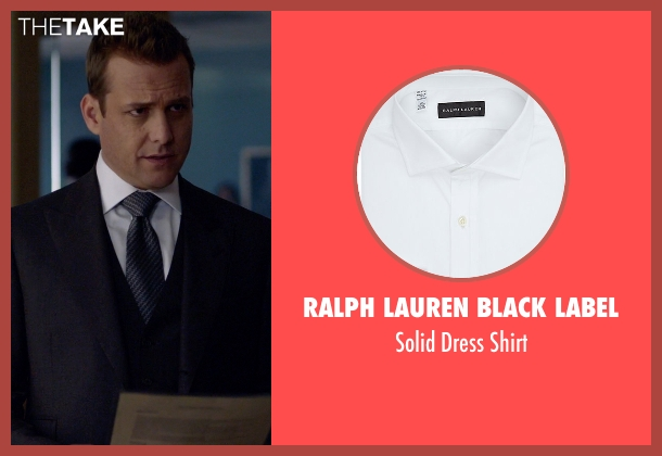 Ralph Lauren Black Label white shirt from Suits seen with Harvey Specter (Gabriel Macht)