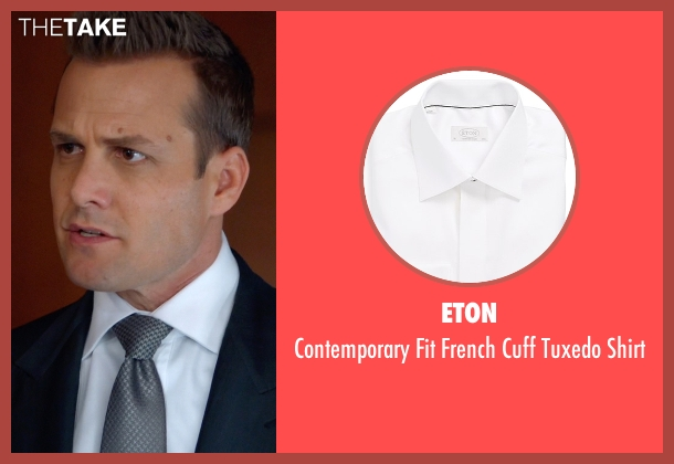 Eton white shirt from Suits seen with Harvey Specter (Gabriel Macht)
