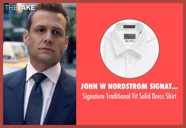 John W Nordstrom Signature white shirt from Suits seen with Harvey Specter (Gabriel Macht)
