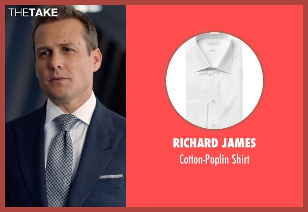 Richard James white shirt from Suits seen with Harvey Specter (Gabriel Macht)