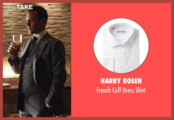 Harry Rosen white shirt from Suits seen with Harvey Specter (Gabriel Macht)