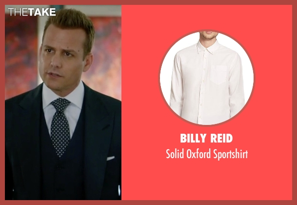 Billy Reid white sportshirt from Suits seen with Harvey Specter (Gabriel Macht)
