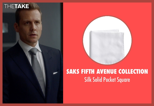Saks Fifth Avenue Collection white square from Suits seen with Harvey Specter (Gabriel Macht)