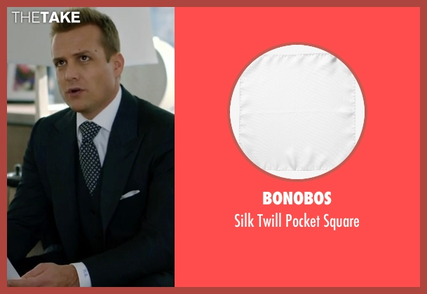 Bonobos white square from Suits seen with Harvey Specter (Gabriel Macht)