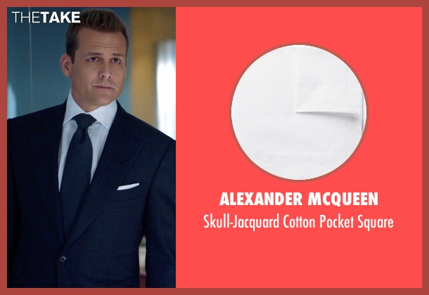 Alexander McQueen white square from Suits seen with Harvey Specter (Gabriel Macht)