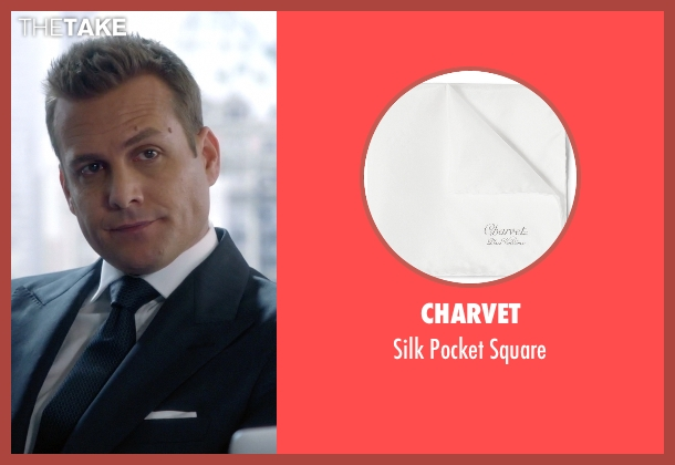 Charvet white square from Suits seen with Harvey Specter (Gabriel Macht)